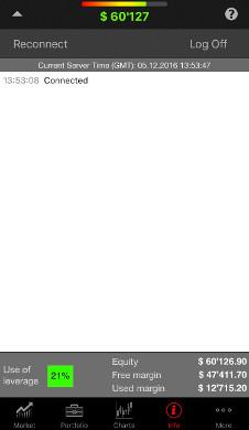 تطبيق منصة التداول JForex (iOS) - نظرة عامة على الحساب
